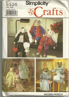 Simplicity 9336 1980s 24 Inch  Rabbit and Cat Doll and Doll Clothes Costumes Pattern Vintage Stuffed Animal Toy Sewing Pattern by patterngate.com