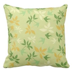 Tiny Sparrows and Leaves Outdoor Pillow Outdoor Throw Pillows, Decorative Throw Pillows, Sparrows, Pillow Design, Leaves, Green, Accent Pillows, Decor Pillows