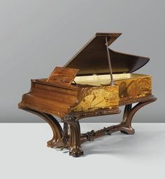 'La Mort Du Cygne', A Carved Mahogany And Fruitwood Marquetry Inlay Baby Grand Piano By Louis Majorelle And Victor Prouvé, 1903.
