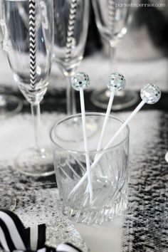 New Years Eve Party - Disco Ball Stirrers by PartiesforPennies.com   #nye #NewYearsEve