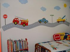 Transportation Themed Wall Mural for Toddler Boys' Bedroom - Transportation themed beds