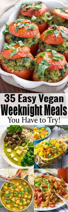 These 35 vegan dinners are perfect for busy days! All recipes are plant-based, super easy to make, and incredibly delicious. Most of these vegan meals are even super healthy! This roundup includes some of my favorite vegan recipes!