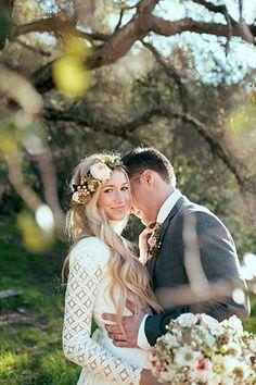 Boho chic bride with long sleeved patterned wedding dress @myweddingdotcom