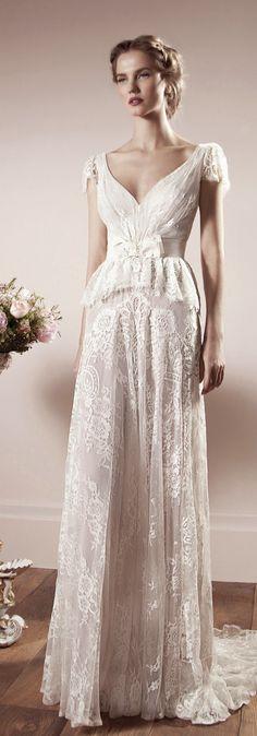 Amazing Lihi Hod Bridal Collection Peplum Wedding DressVintage