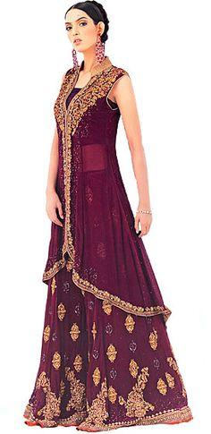 BW6825 Tyrian Purple Sharara Pakistani Indian Anarkali Pishwas Dress Chiffon Anarkali Churidar Pajama Frock Style Pishwaz Bridal Wear