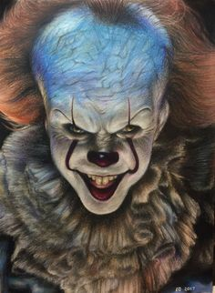 Pennywise (IT 2017) colored pencil drawing by evanartt