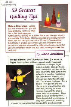 59 Greatest Quilling Tips Booklet Jane Jenkins www.customquilling.com