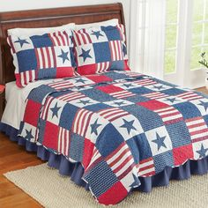 Collections Etc Americana Star Patchwork Quilt, Full/Queen Twin Quilt, Quilt Bedding, Bedding Sets, Collections Etc, Bedding Collections, Red Headboard, Twin Comforter, Patriotic Decorations, Cozy Bed