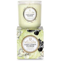 Voluspa Maison Jardin Candle - Sake Lemon Flower - 340g ($49) ❤ liked on Polyvore featuring home, home decor, candles & candleholders, green, voluspa candles, scented candles, floral scented candles, floral candles and voluspa