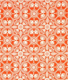 Joel Dewberry Historic Tile Tangerine Fabric - $9.35 | onlinefabricstore.net