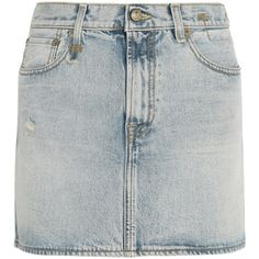 R13 Distressed denim mini skirt (2 350 ZAR) ❤ liked on Polyvore featuring skirts, mini skirts, clothes - skirts, bottoms, ripped skirt, short skirt, distressed denim skirt, light blue mini skirt and button skirt
