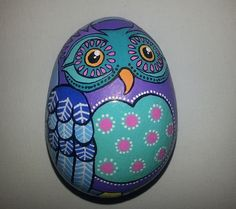 Hand painted stone Owl design