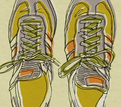 yellow and orange adidas sneakers illustration - running shoe art