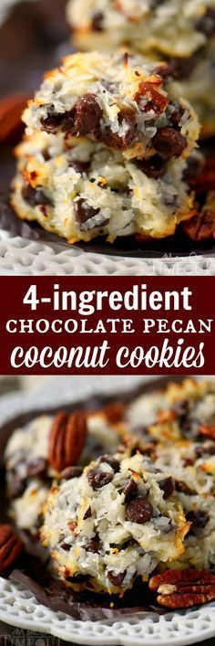 Gluten Free - These delicious Chocolate Pecan Coconut Cookies take only 4 ingredients! Ooey gooey perfection that's impossible to resist! This easy recipe is one that you NEED to add to your repertoire! Coconut Cookies, Yummy Cookies, Tea Cakes, Cookie Desserts, Cookie Recipes, Dessert Recipes, Coconut Recipes, Delicious Chocolate, How Sweet Eats