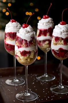 New Year's Eve Food idea: Strawberry Shortcake served in wine glasses.