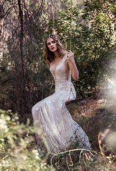 galia lahav gala 4 2018 bridal cap sleeves deep plunging v neck full embellishment elegant sexy a  line wedding dress open scoop back chapel train (903) mv -- Gala by Galia Lahav 2018 Wedding Dresses