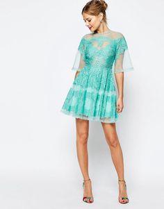 Image 4 ofASOS SALON Lace Panelled Organza Mini Dress