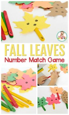 Oct 2019 - This fall leaves number match game is the perfect math center activity for fall. This hands-on preschool math activity is perfect for the classroom or home! Fall Preschool Activities, Stem Activities, Counting Activities, Vocabulary Activities, Teaching Activities, Teaching Art, Toddler Activities, Math Crafts, Preschool Crafts