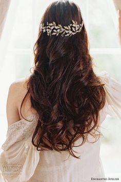 leaf inspired bridal headpiece with swarovski crystals