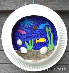 Schilder een 3D aquarium op een papieren bordje. gebruik ook zand en dotjes watjes