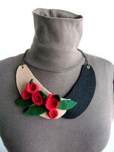 Collare in feltro /Romantic collare collare di SonizDesign su Etsy
