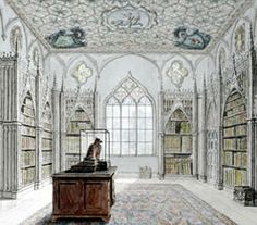 The Library at Strawberry Hill (presumably by Richard Bentley) Georgian Architecture, Space Architecture, The Castle Of Otranto, Strawberry Hill House, Gothic Castle, English Library, Beach House Bedroom, Home Libraries, Prime Minister