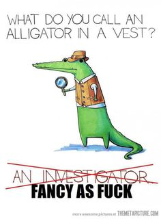 An alligator in a vest…