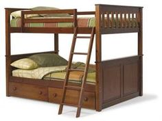 Wooden Twin Over Full Bunk Beds With Twin Trundle