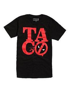 Marvel Deadpool TACO Logo T-Shirt, BLACK
