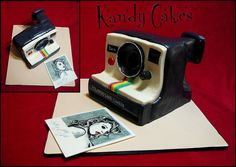 This cake is unbelievably adorable. Poloroid Camera Cake by Kandy Cakes by Leeroy Rokkenröhl (Formerly of Kandy Cakes),