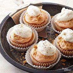 Easy Pumpkin Pie Cupcakes:What makes these pumpkin cupcakes so easy? The double dollop on top starts with purchased fluffy white frosting, plus a sprinkle of cinnamon and crushed graham crackers. The cake is easy, too! Canned pumpkin and a touch of sour cream transform yellow cake mix into a spongy, delicious pumpkin dessert.