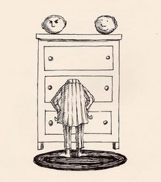 Edward Gorey. And how many mornings have I felt like this? Practice smiling in the shower.
