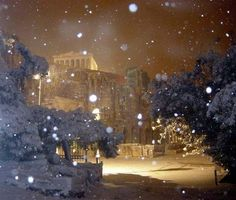 Snowing in Athens