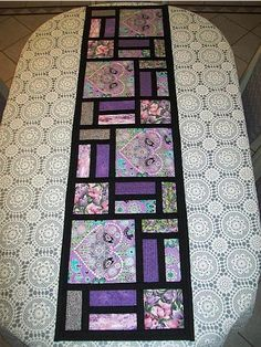 Make a Beautiful Stained Glass Runner – Quilting Digest - table runner Patchwork Table Runner, Table Runner And Placemats, Quilted Table Runners, Quilted Table Runner Patterns, Modern Table Runners, Stained Glass Quilt, Place Mats Quilted, Sampler Quilts, Sewing Table