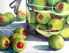 """Out of the Jar III....Olives"" Janet Mach Dutton Watercolors"