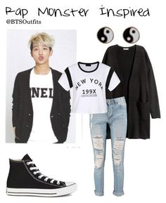 """Rap Monster Inspired"" by btsoutfits ❤ liked on Polyvore featuring H&M, Boohoo, Converse, Accessorize and Ally Fashion"