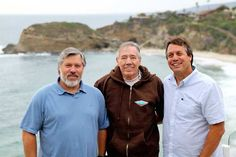 Hobie Alter jr., Hobie Alter Sr., and Jeff Alter at Three Arch Bay in Laguna Beach.