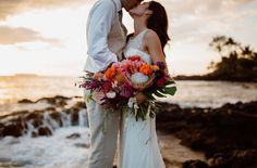 Love this Maui wedding -- and that protea bouquet!