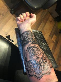 Half mandala rose sleeve women female tattoo black and white grey scale