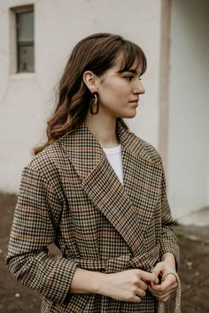Statement Earrings and Plaid #style #outfit #fashion #earrings #plaid #fallstyle #minimal @themoptop