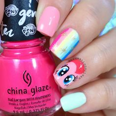 """In an era of rainbows, cute ponies and unicorns I made honor to this """"My Little Pony Collection"""" from and I hand painted this cute little Pinkie Pie 🦄 and rainbow 🌈 design using most of. Little Girl Nails, Girls Nails, Disney Inspired Nails, Disney Nails, Nail Art Designs Videos, Cute Nail Art Designs, Gelish Nails, My Nails, Trendy Nails"""