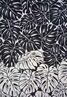 Items similar to Hawaiian Black/White/Tan Leaf Fabric on Etsy