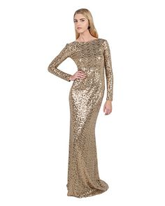 Badgley Mischka Gold Sequin Cowl Back Gown