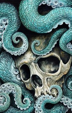 Available in FULL, QUEEN and KING size is this disturbing yet beautiful octopus tentacle skull bedding featuring arms of the deep cradling the weathered skull Octopus Tentacles, Octopus Art, Octopus Painting, Octopus Tattoos, Sea Art, Canvas Prints, Art Prints, Skull And Bones, Skull Art