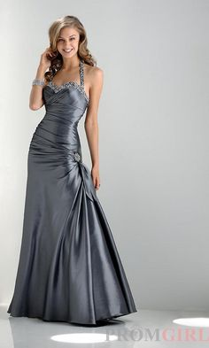 Charcoal Grey Halter Dress by Flirt - $200.00  - The ruching should flatter both girls mid section and hips, the straps can easily be removed for Nana.