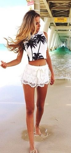 Summer style, boho beach chic lace shorts with palm tree tank crop top. For the BEST summer fashion trends of 2014 FOLLOW http://www.pinterest.com/happygolicky/summer-style-jewelry-clothing-swimsuits-accessorie/