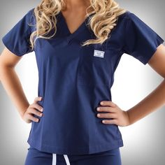 Navy Blue - Women's Simple Scrub Tops