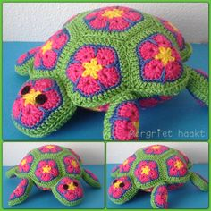 Schildpad in african flowers / turtle Made by me Crochet Pincushion, Crochet Diy, Crochet Cushions, Crochet Crafts, African Flower Crochet Animals, Crochet Flowers, Crochet World, Yarn Projects, Crochet Projects