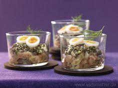 Wildlachs-Tatar mit Linsen, Wachteleiern und Honig-Senf-Sauce - smarter - Kalorien: 256 Kcal | Zeit: 60 min.
