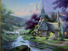 """For auction from 2001 a limited edition lithograph on canvas by artist Thomas Kinkade titled """"Clocktower Cottage"""". It is double signed: once to the lower left corner above thee edition numbers and aga. Thomas Kinkade Art, Thomas Kinkade Puzzles, Kinkade Paintings, Oil Paintings, Landscape Photos, Landscape Art, Thomas Kincaid, Aesthetic Painting, Artist Art"""